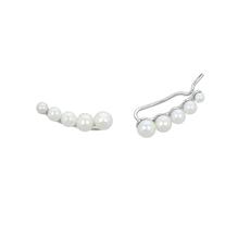 Mabina Gioielli -  Ohrringe Süßwasserperlen Stabpaar    - Sterling-Silber/rhodiniert mit Zirkonia