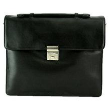 Flache Leder Aktentasche mit Laptopfach aus Kalbleder schwarz 131010