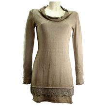 Simclan Damenpullover Longshirt Feinstrickpulli Haselnuss 2524-025