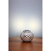 Windlicht aus Glas, Silber beschichtet Ø 15 cm H: 13 cm