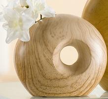 Gilde Keramik Vase Hole Holz Look Rund 28 cm beige 33403be
