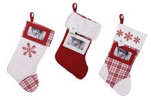 Weihnachtssocke mit Fotoausschnitt 8x12cm, befüllbar in verschiedenen Mustern