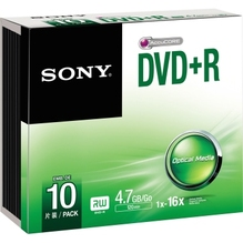 Sony DVD+R DPR47SS 16x 4,7GB 120Min. Slimcase 10 St./Pack.
