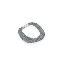 Synthetisches Seiden-Armband  dunkelgrau  mit Magnetverschluß aus Stahl