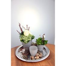 Philippi Silbertablett Ø 38 cm mit Gläser frühlinshaft dekoriert