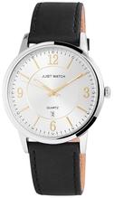 Just Watch JW11490 Analog Herrenuhr mit Echtlederband silber