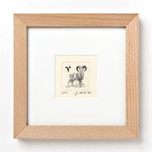 Original Radierung, Miniatur, Tierkreiszeichen Widder, gerahmt