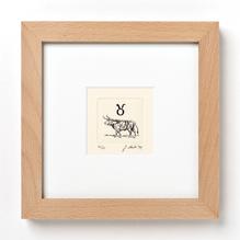 Original Radierung, Miniatur, Tierkreiszeichen Stier, gerahmt