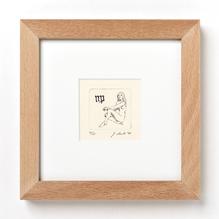 Original Radierung, Miniatur, Tierkreiszeichen Jungfrau, gerahmt