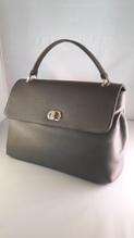 Damen- Leder- Handtasche, Farbe: grau