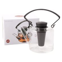 Glaskanne Cylinder mit Filter - Teekanne- 1000 ml - schwarz