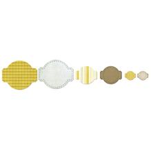 Sizzix Framelits Set, Circle&Labels, SB-Blister 6Stück, 11,75x9,84cm-2,22x2,22cm