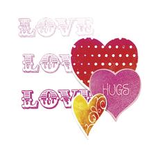 Sizzix Framelits Set with Stamp, Love,Hugs&Hearts, SB-Blister 12Stück, 12,38x11,43cm-1,27x1,27cm