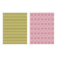 Sizzix Textured Impressions Emb. Folder, Dots,ZigZag,Flowers,SB-Bli 2 St, 10,80cmx13,97cm