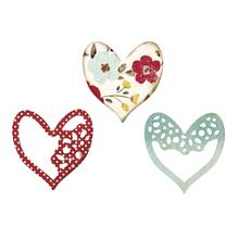 Sizzix Thinlits Set- Alluring Hearts, SB-Blister 3Stück, 6,35x6,35cm-5,08x4,76cm