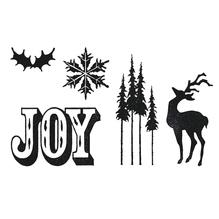 Sizzix Framelits Set with Stamp, Holiday Joy,T.Holtz, SB-Bli 1 St, 4,13x10,80cm-0,95x0,95cm