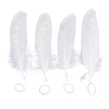 Deko-Feder weiß mit Schmetterlingen, 15-17cm, m.Kordel, SB-Btl 4Stück