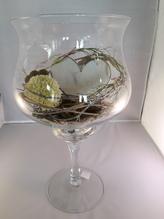 Glas-Pokal,groß, rund, mit Holzherz und Deko