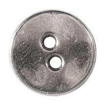 Metall-Zierelement Knopf, 1,4cm ø, Löcher 1,5mm ø, SB-Btl 1Stück, silber