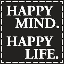 Label Happy Mind. Happy Life, 50x50mm, SB-Btl 1Stück