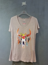 T-Shirt aus Leinen mit Aufdruck rose