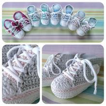 Häckelset - Baby Sneaker / Turnschuhe - rose, hellgrau, weiß