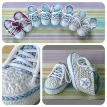 Häckelset - Baby Sneaker / Turnschuhe - hellblau, hellgrau, weiß
