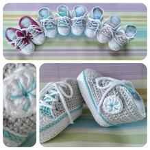 Häckelset - Baby Sneaker / Turnschuhe - mint, hellgrau, weiß