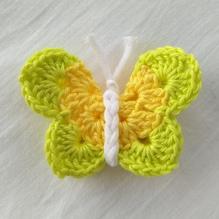 Schmetterling gehäkelt - gelb / grün