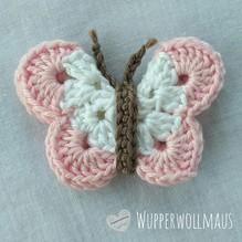 Schmetterling gehäkelt - weiß / rosa