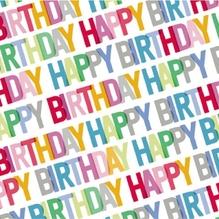 Serviette/33x33 Happy Birthday/multic.