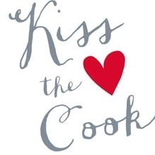 Serviette/33x33 Kiss the Cook/Herz/grau