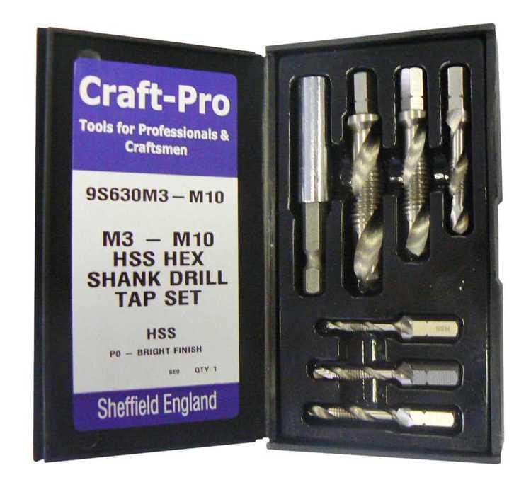 Satz Craft-Pro® ¼'-Kombigewindebits HSSG, Bohren-Gewind... Satz Bohren-Gewinden-Senken M3-M10 x ¼' 6-teilig (M 3|4|5|6|8|10) plus Bit-Halter