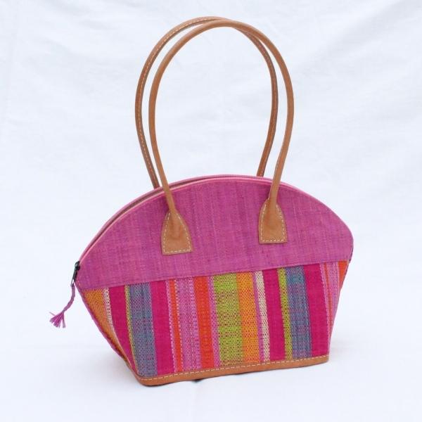Bast-Handtasche 'Bako' pink