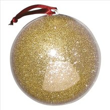 Plastik-Kugel, 2tlg., gold, 10 cm ø