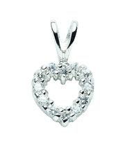 Valentinstag: kleiner Herzanhänger aus Silber mit Zirkoniasteinen  AN 121119