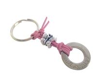Schlüsselanhänger Glückskind, Schmetterling, Lederband rosé