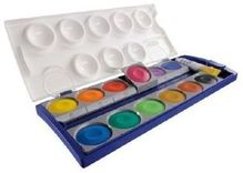Tuschkasten, Pelikan Deckfarbkasten 12 Farben + Deckweiß, mit Namensfeld