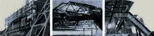 """Wuppertal-Zeichnungen """"Stationen"""", 3-teilig, 28 x 57 cm"""