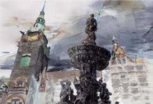 """Wuppertal-Motiv """"Neptunbrunnen und Rathaus Elberfeld"""", WM 103, 30 x 40 cm"""