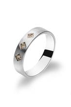 Ring 950 Palladium -auch ein Verlobungsring und Antragsring mit  3 Diamanten im Prinzessschliff- Handarbeit aus unserer Meisterwerkstatt