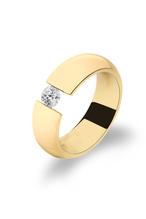 Ring aus hochwertigem Edelstahl -  mit Swarowaki  Zirconia -  als Spannring gefertigt - Veredelt mit 585 Gold