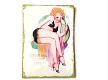 Pin-Up Bild Schild Holz Spiegel retro vintage 50er, witziges Geschenk z.B. zu Valentinstag, Geburtstag etc.