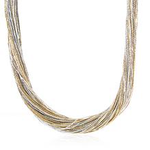 Synthetisches Seiden-Collier in gold-hellgrau mit Magnetverschluß aus Stahl