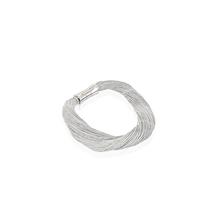Synthetisches Seiden-Armband in hellgrau mit Magnetverschluß aus Stahl