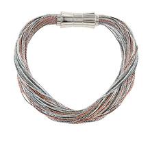 Synthetisches Seiden-Armband  grau-kupfer  mit Magnetverschluß aus Stahl
