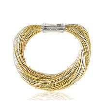 Synthetisches Seiden-Armband  gold-hellgrau  mit Magnetverschluß aus Stahl