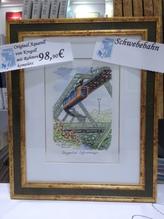 Original Aquarell Schwebebahn Handarbeit mit hochwertigem Holzrahmen 29,5 x 36